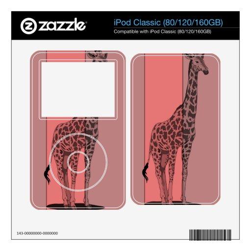 Bosquejo rosado de la jirafa calcomanías para iPod