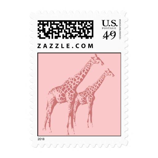 Bosquejo rosado de la jirafa sellos
