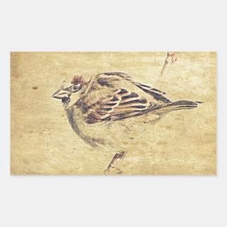 Bosquejo rústico del lápiz de un pájaro salvaje pegatina rectangular