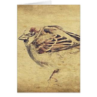 Bosquejo rústico del lápiz de un pájaro salvaje tarjeta de felicitación