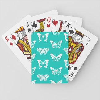 Bosquejo, turquesa y blanco de la mariposa baraja de póquer