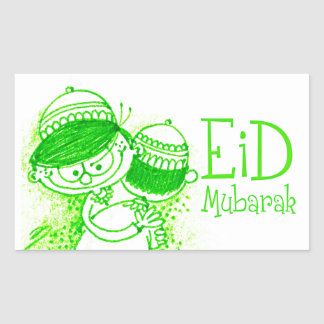 Bosquejo verde de Eid Mubarak Pegatina Rectangular