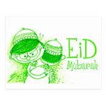 Bosquejo verde de Eid Mubarak Tarjetas Postales