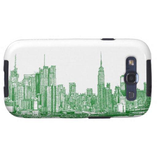 Bosquejo verde de NYC Samsung Galaxy S3 Carcasas
