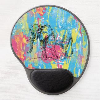 bosquejo vibrante del elefante de las salpicaduras alfombrilla de ratón con gel