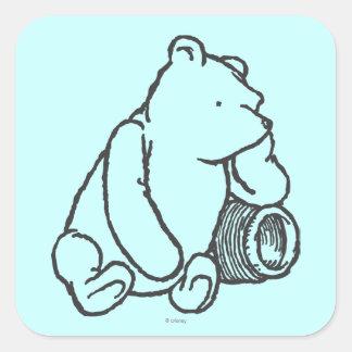 Bosquejo Winnie the Pooh 2 Pegatina Cuadrada