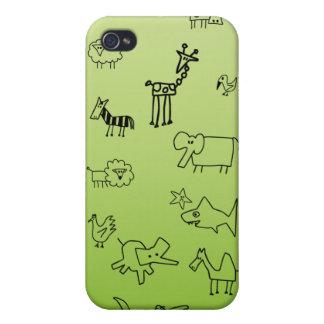 Bosquejos animales iPhone 4 carcasa