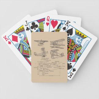 Bosquejos del aeroplano del vintage barajas de cartas