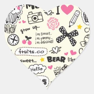 Bosquejos femeninos dulces azucarados del dibujo a pegatina de corazón