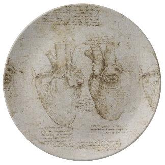 Bosquejos humanos de la anatomía del corazón de da platos de cerámica