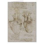 Bosquejos humanos de la anatomía del corazón de da tarjeta de felicitación