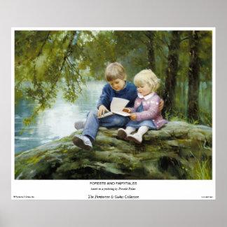 Bosques y cuentos de hadas póster