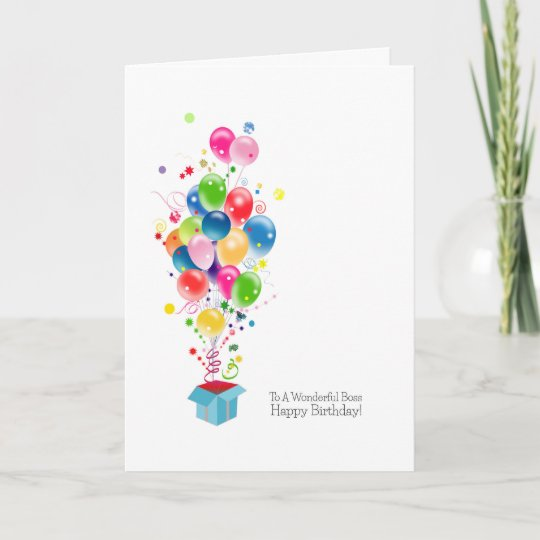 Boss Birthday Cards Balloons Coming Out Of Box Zazzle