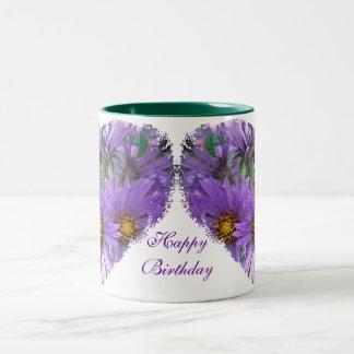 Boss Birthday Purple Fall Asters Wildflower Mugs