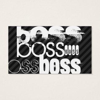 Boss; Black & Dark Gray Stripes Business Card