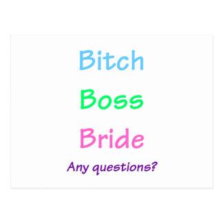 Boss Bride Postcard