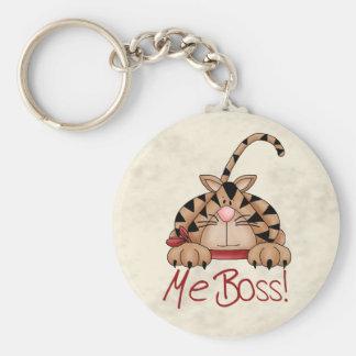 Boss Cat Basic Round Button Keychain