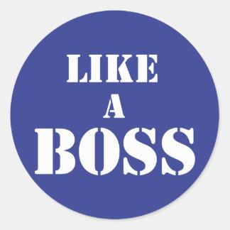 Boss corporativo pegatina redonda