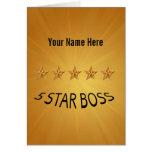 Boss Day Five 5 Star Award Custom Greeting Card