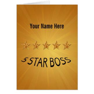 Boss Day Five 5 Star Custom Greeting Card