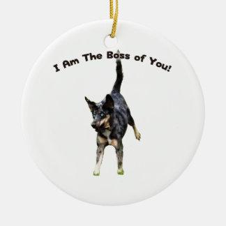 Boss de usted perro de Catahoula Adorno Navideño Redondo De Cerámica