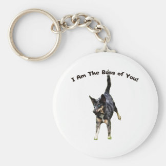 Boss de usted perro de Catahoula Llavero Redondo Tipo Pin