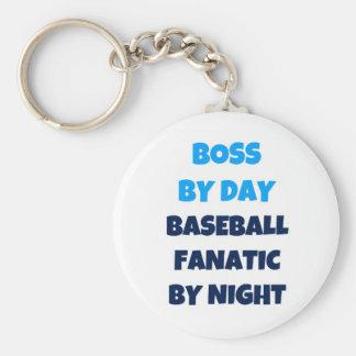 Boss del fanático del béisbol del día por noche llavero personalizado