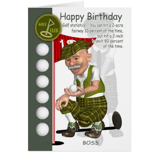 Boss Golfer Birthday Greeting Card With Humor