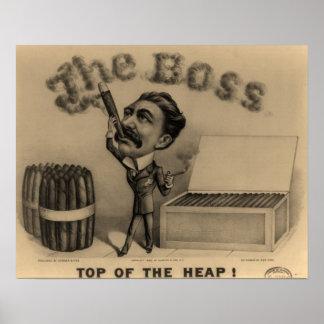 ¡Boss! Impresión del fumador de cigarro Póster