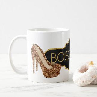 Boss Lady | Chic Black Gold Glitter Shoes Coffee Mug