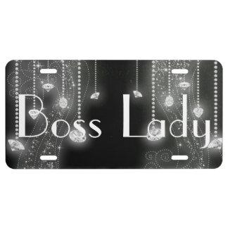 Boss Lady Diamonds Aluminum License Plate