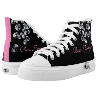 Boss Lady Diamonds High Top Printed Shoes