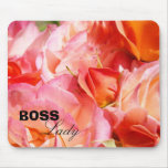 Boss Lady Holiday gifts Pink Rose Flowers mousepad