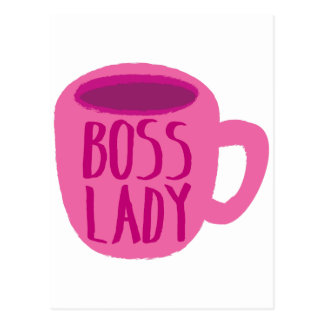 Boss Lady pink Coffee Cup Postcard