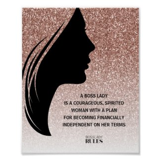 Boss Lady Rose Gold Glitter Motivational Quote Poster