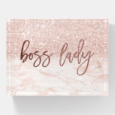 Boss Lady Rose Gold Marble Blush Pink Glitter Paperweight