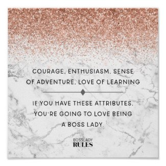 Boss Lady Rose Gold Marble Motivational Quote Poster