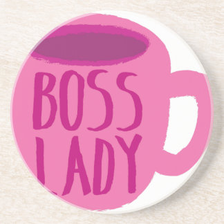 BOSS lady with a pink coffee cup Coaster