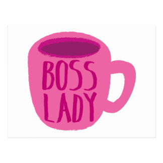 BOSS lady with a pink coffee cup Postcard