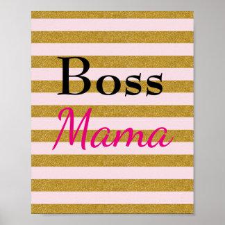Boss Mama Striped Poster