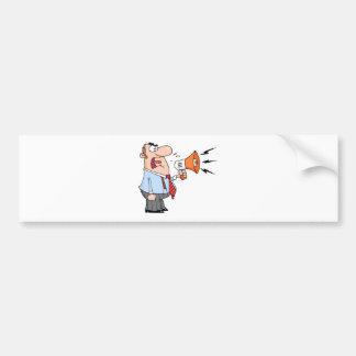Boss Man Screaming Into Megaphone Bumper Sticker
