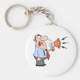 Boss Man Screaming Into Megaphone Keychain