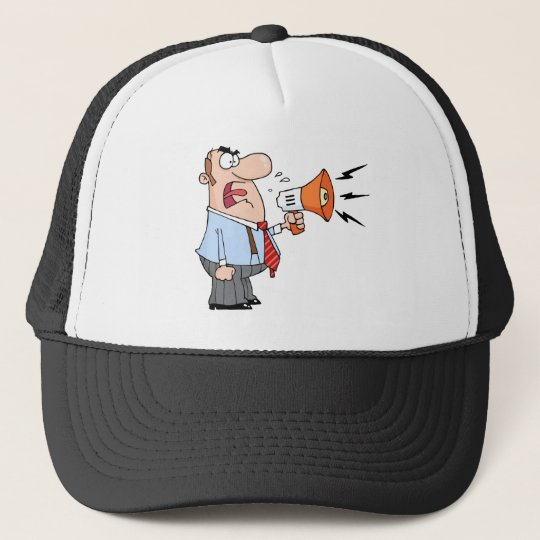Boss Man Screaming Into Megaphone Trucker Hat