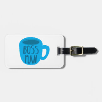 Boss man with blue Coffee CUP Tags For Bags