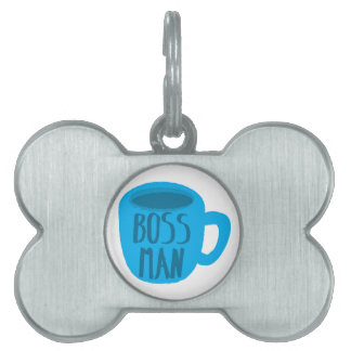 Boss Man with blue cup Pet Name Tag