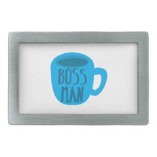 Boss Man with blue cup Rectangular Belt Buckle