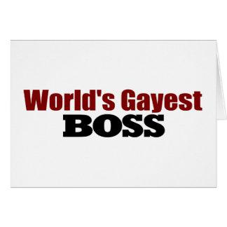 Boss más alegre de los mundos tarjeta de felicitación