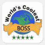 Boss más fresco del mundo colcomanias cuadradass
