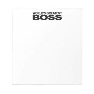 Boss más grande del mundo bloc de papel