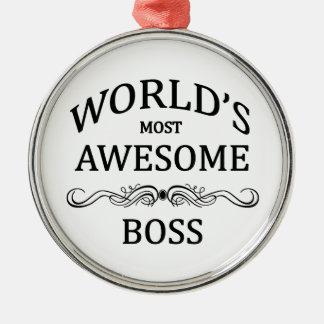 Boss más impresionante del mundo adorno navideño redondo de metal